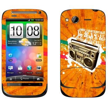 Виниловая наклейка «Бумбокс на оранжевом фоне» на телефон HTC Desire S