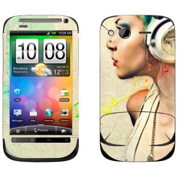 Виниловая наклейка «Музыка в наушниках» на телефон HTC Desire S