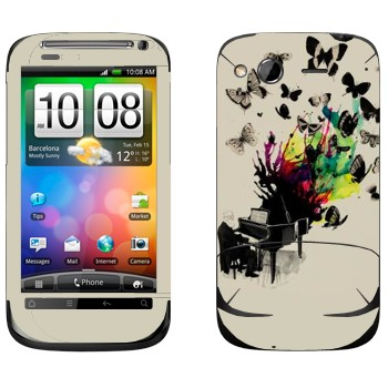 Виниловая наклейка «Рояль с бабочками» на телефон HTC Desire S