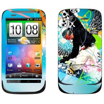 Виниловая наклейка «Экстрим сноуборд» на телефон HTC Desire S