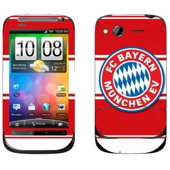 Виниловая наклейка «ФК Бавария эмблема на красном фоне» на телефон HTC Desire S