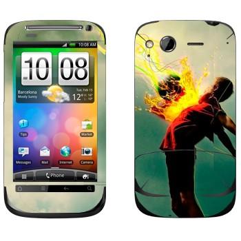 Виниловая наклейка «Футболист принимает мяч» на телефон HTC Desire S
