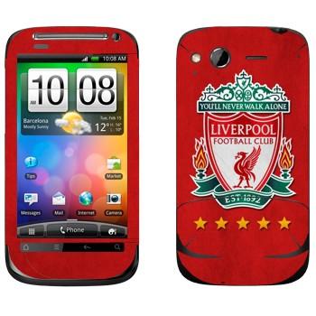 Виниловая наклейка «Ливерпуль эмблема на красном фоне» на телефон HTC Desire S