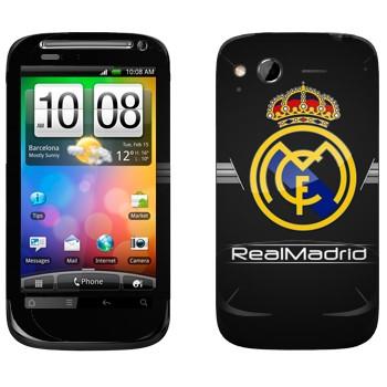 Виниловая наклейка «Реал Мадрид эмблема на черном фоне» на телефон HTC Desire S