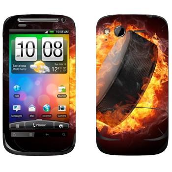 Виниловая наклейка «Шайба в огне» на телефон HTC Desire S