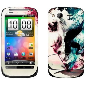 Виниловая наклейка «Скейбордист в красочном дыму» на телефон HTC Desire S