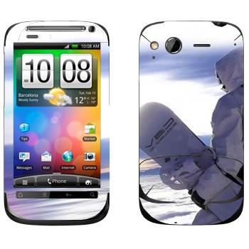 Виниловая наклейка «Сноубордист в белом» на телефон HTC Desire S
