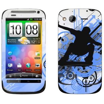 Виниловая наклейка «Тень скейтбордиста» на телефон HTC Desire S
