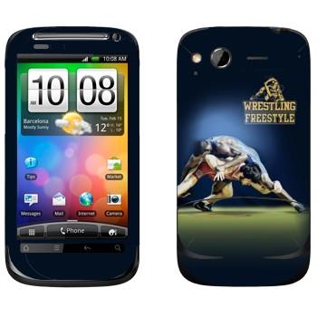 Виниловая наклейка «Вольная борьба» на телефон HTC Desire S