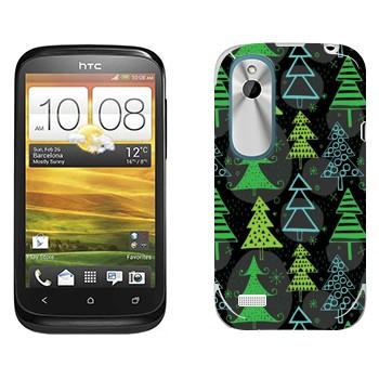 Виниловая наклейка «Новогодние деревья узор» на телефон HTC Desire X