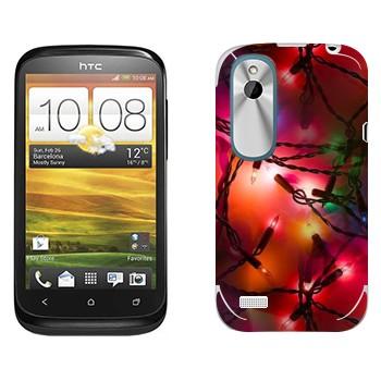 Виниловая наклейка «Новогодняя герлянда» на телефон HTC Desire X