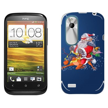 Виниловая наклейка «Санта-супергерой - Новый Год» на телефон HTC Desire X