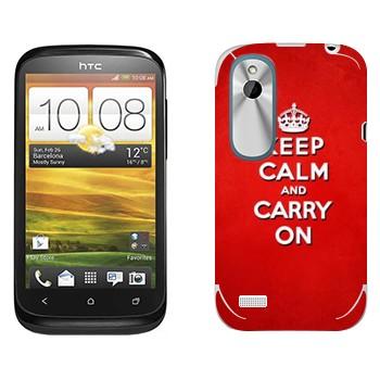 Виниловая наклейка «Keep calm and carry on - Надпись» на телефон HTC Desire X