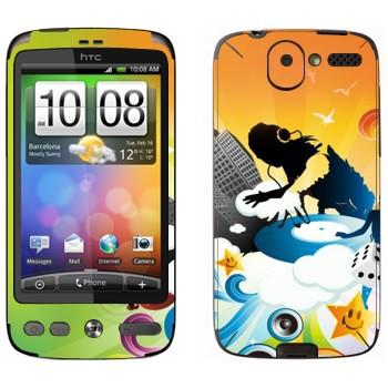 Виниловая наклейка «DJ за работой» на телефон HTC Desire