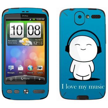 Виниловая наклейка «Человечек в наушниках» на телефон HTC Desire