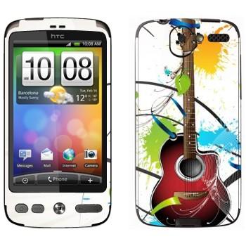 Виниловая наклейка «Гитара и пятна краски» на телефон HTC Desire