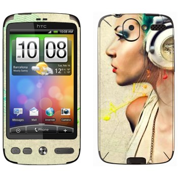 Виниловая наклейка «Музыка в наушниках» на телефон HTC Desire