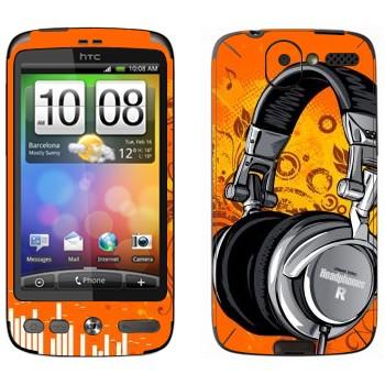 Виниловая наклейка «Наушники большие» на телефон HTC Desire