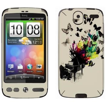 Виниловая наклейка «Рояль с бабочками» на телефон HTC Desire