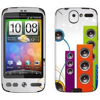 Виниловая наклейка «Вертикальные разноцветные колонки» на телефон HTC Desire