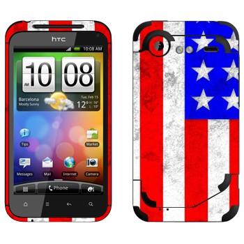 Виниловая наклейка «Флаг Америки» на телефон HTC Incredible S