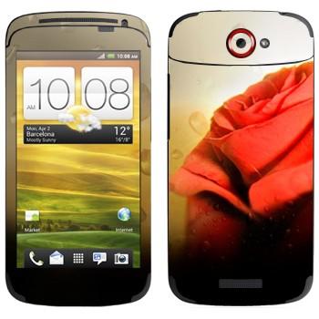 Виниловая наклейка «Алая роза» на телефон HTC One S