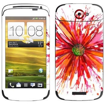 Виниловая наклейка «Астра нарисованная акварелью» на телефон HTC One S