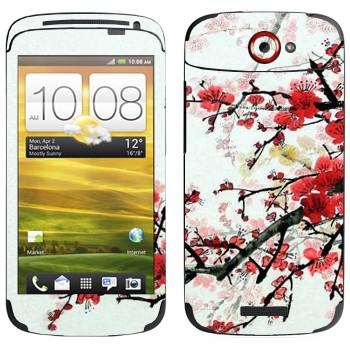 Виниловая наклейка «Цветущая сакура» на телефон HTC One S