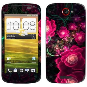 Виниловая наклейка «Цветущие маки абстракция» на телефон HTC One S