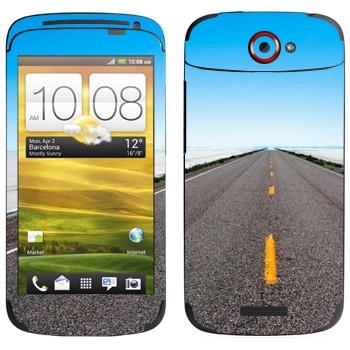 Виниловая наклейка «Дорога убегает к горизонту» на телефон HTC One S