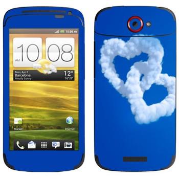Виниловая наклейка «Два сердца из облаков» на телефон HTC One S