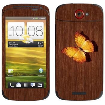 Виниловая наклейка «Желтая бабочка на дереве» на телефон HTC One S
