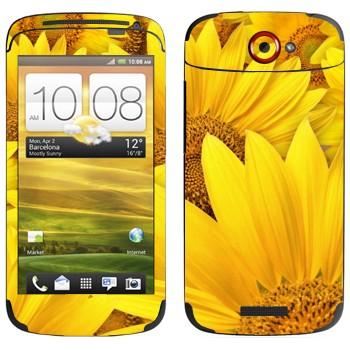 Виниловая наклейка «Желтые ромашки» на телефон HTC One S