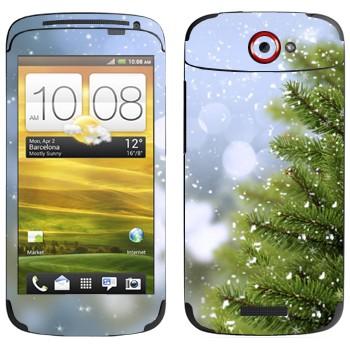 Виниловая наклейка «Ёлка и снег» на телефон HTC One S