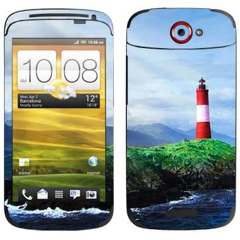 Виниловая наклейка «Маяк на скале» на телефон HTC One S