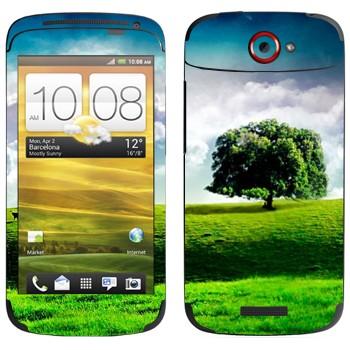 Виниловая наклейка «Одинокое дерево на лугу» на телефон HTC One S