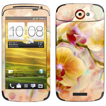 Виниловая наклейка «Орхидея» на телефон HTC One S