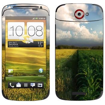 Виниловая наклейка «Поле кукурузы и небо» на телефон HTC One S