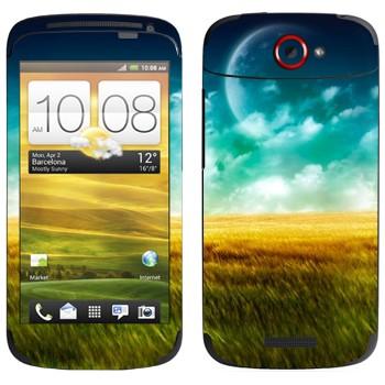 Виниловая наклейка «Поле, небо и Луна» на телефон HTC One S
