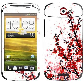 Виниловая наклейка «Сакура  цветет» на телефон HTC One S