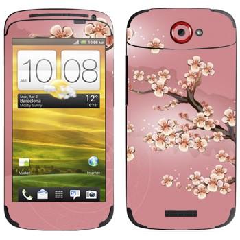 Виниловая наклейка «Сакура в цветах» на телефон HTC One S