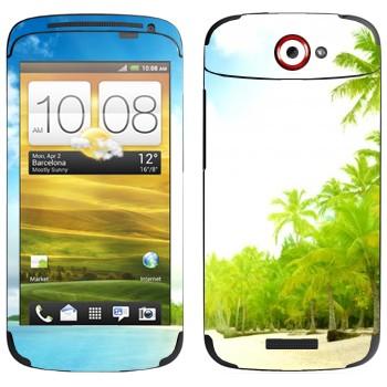 Виниловая наклейка «Тропический пляж» на телефон HTC One S