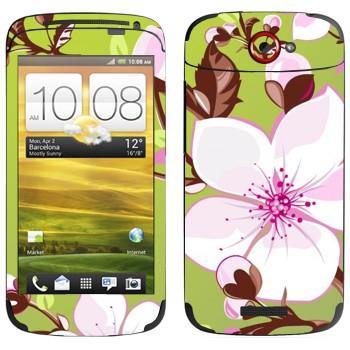 Виниловая наклейка «Цветет вишня» на телефон HTC One S