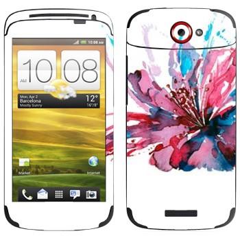 Виниловая наклейка «Цветок нарисованный акварелью» на телефон HTC One S