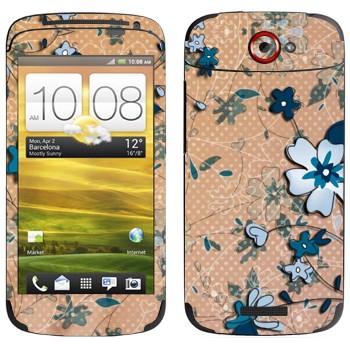 Виниловая наклейка «Васильковый рисунок» на телефон HTC One S