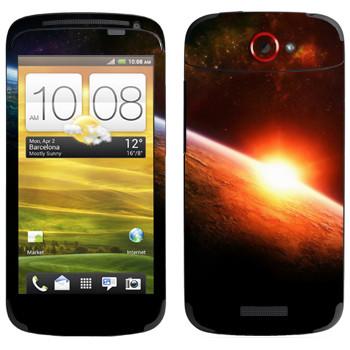 Виниловая наклейка «Восход солнца на орбите Земли» на телефон HTC One S