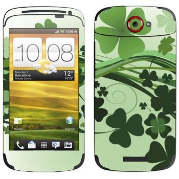 Виниловая наклейка «Зеленый клевер» на телефон HTC One S