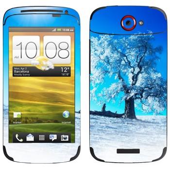Виниловая наклейка «Зимнее дерево» на телефон HTC One S