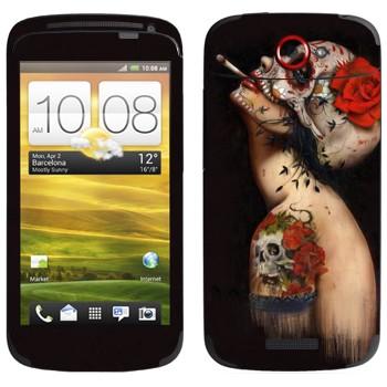 Виниловая наклейка «Бодиарт Череп с цветком» на телефон HTC One S