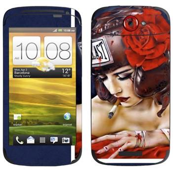 Виниловая наклейка «Девушка в защитном шлеме Evillast» на телефон HTC One S